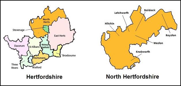 Map Of Hertfordshire And North Hertfordshire