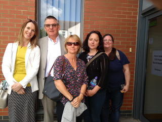 Cllr Mark Watkin with concerned parents